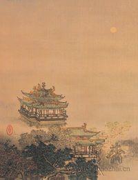 1954年荣宝斋成功印制了清代王云的绢本山水《月夜楼阁》