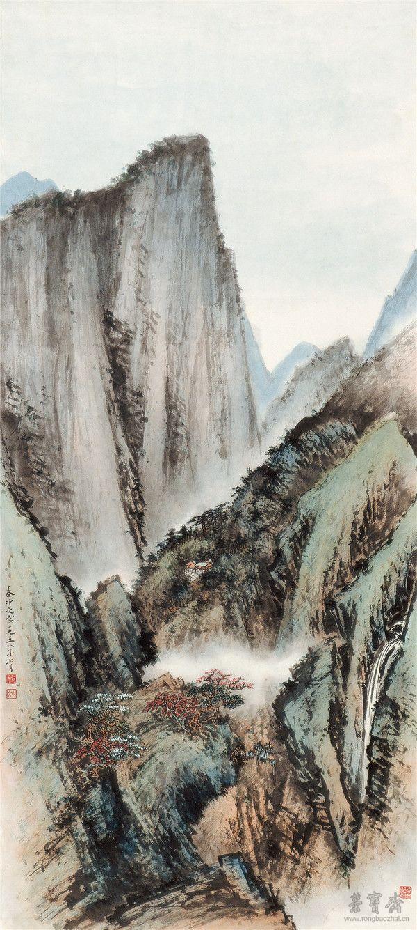 秦仲文 华山风景 66.5cm×146cm 1958 北京画院