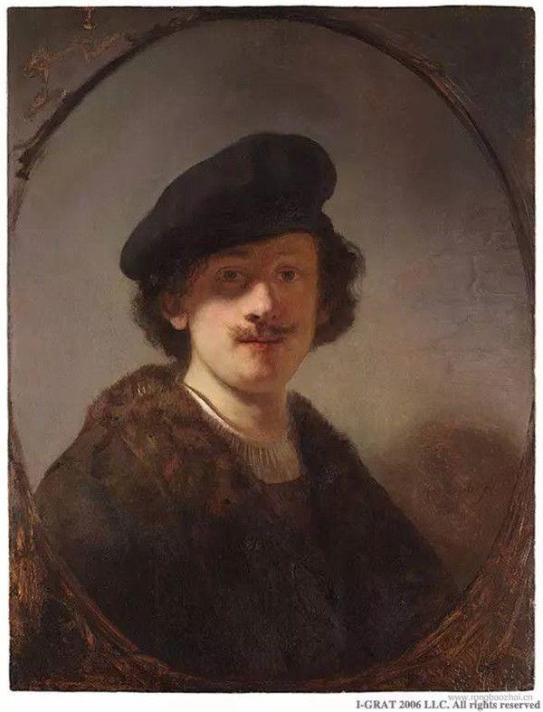 伦勃朗•范•莱茵《双眼被阴影覆盖的自画像》(Self-Portrait with Shaded Eyes),1634年,木板油画,