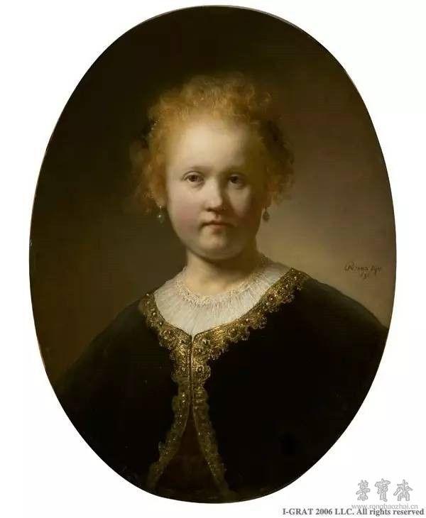 伦勃朗•凡•莱因《穿金边斗篷的少女》(Young Girl in a Gold-Trimmed Cloak),1632年,木板油画,59×44厘米