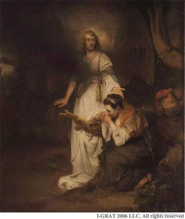 卡尔•法布里蒂乌斯《夏甲与天使》(Hagar and the Angel),布面油画,157.50×136厘米
