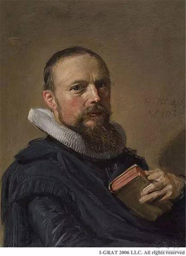 弗朗斯•哈尔斯《塞缪尔•安菲齐宁像》(Portrait of Samuel Ampzing),1630年,铜板油画,16.40×12.40厘米
