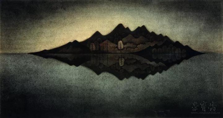 黄红涛 赛里木湖的冥想 70cm×136cm 纸本设色 2017