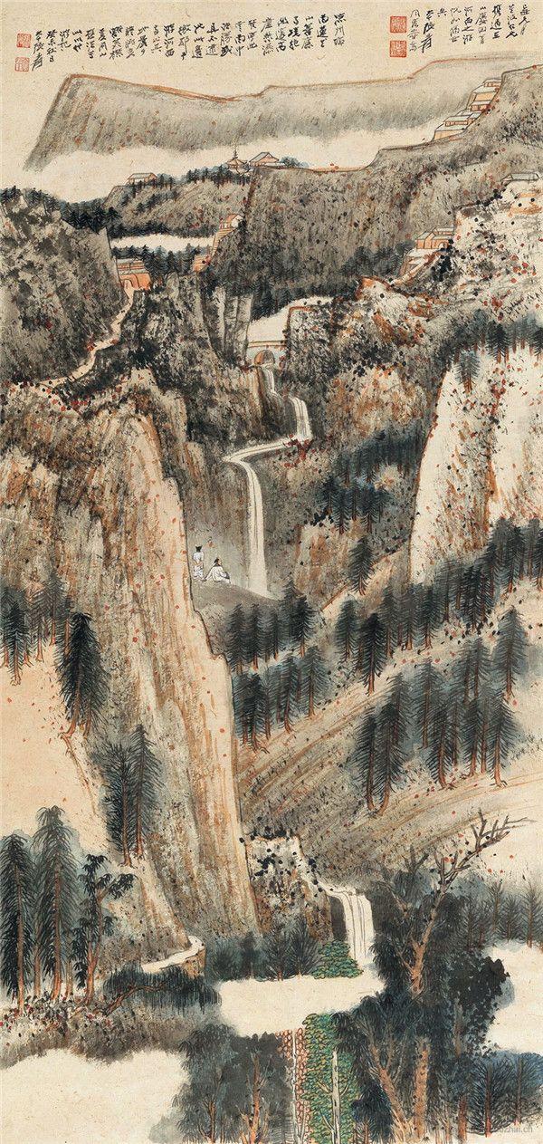 张大千 高崖悬瀑